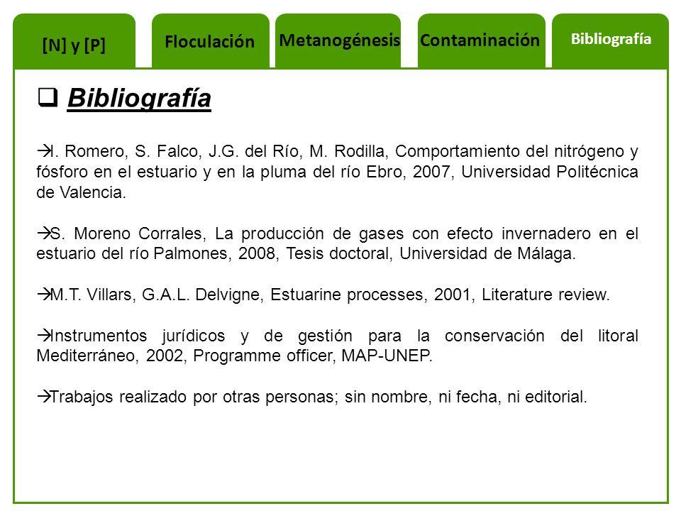 Bibliografía Floculación Metanogénesis Contaminación [N] y [P]